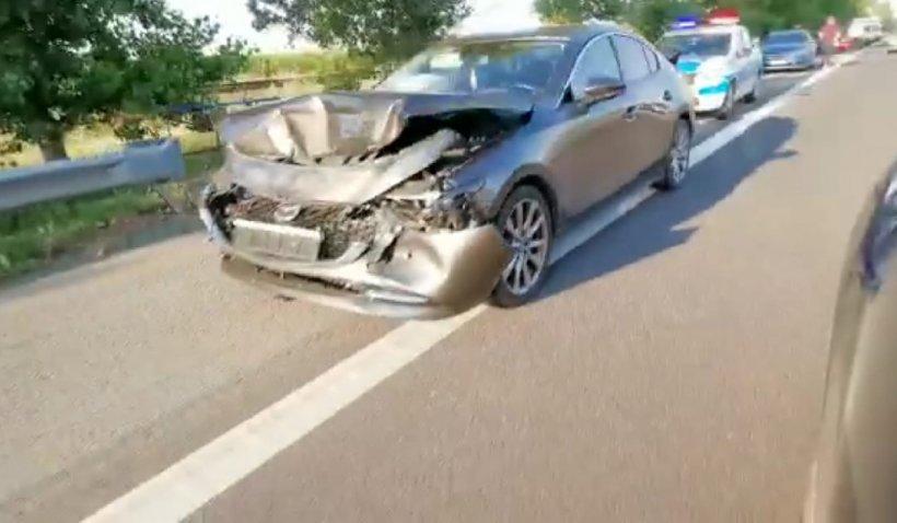 Accident în lanț cu 4 mașini pe Autostrada Soarelui. Traficul este îngreunat