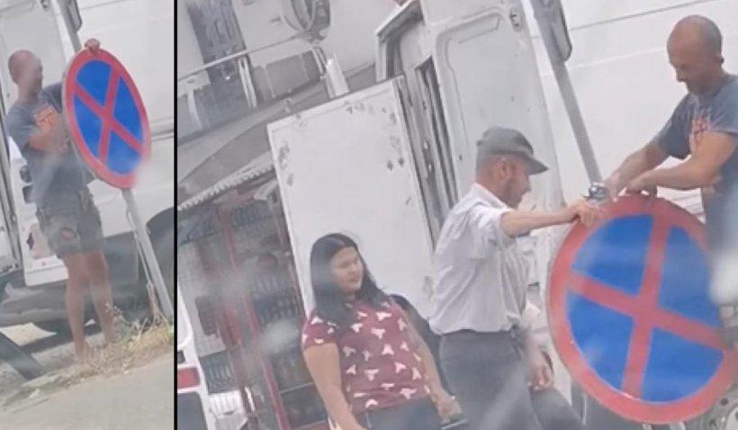Bărbat din Gorj, cercetat de poliţie după ce a demontat un indicator rutier ca să vândă pepeni