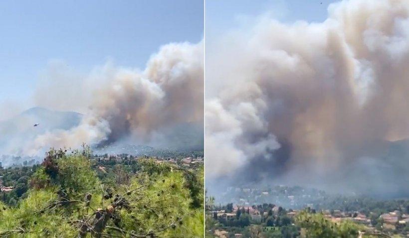 """Incendiu forestier izbucnit în Atena se extinde rapid din cauza vântului. """"Este scăpat de sub control"""""""