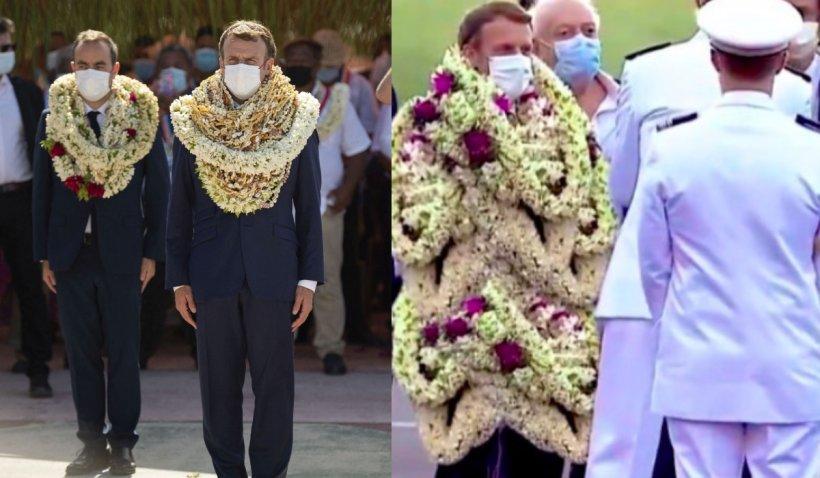 Emmanuel Macron, îmbrăcat cu flori, într-o vizită oficială. Internauții au modificat pozele și au glumit pe seama președintelui francez