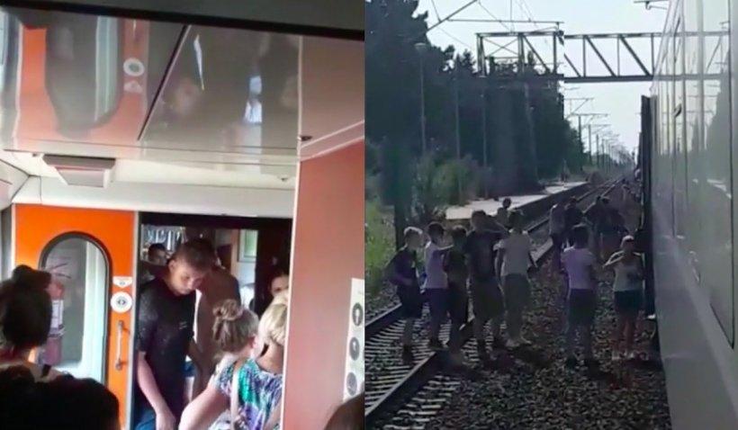 """Tren cu copii care se întorceau de la mare, blocat în câmp, zece ore: """"Copiii nu mai au apă, mâncare"""""""