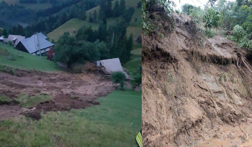 Alunecare de teren într-un sat din Brașov: Casele riscă să se prăbușească, zeci de animale au murit