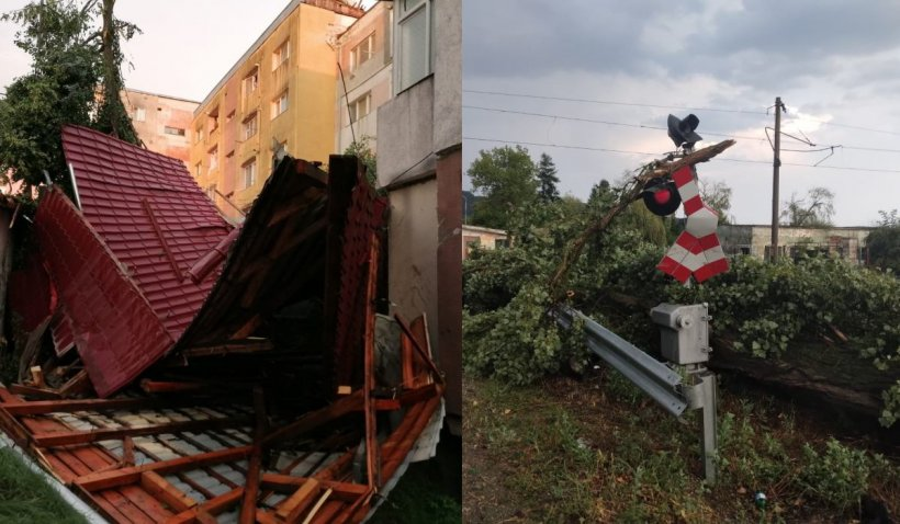 Codul portocaliu de vijelii face ravagii: O fată de 6 ani a murit strivită de un copac în Mureș, casele au rămas fără acoperișuri în Cluj