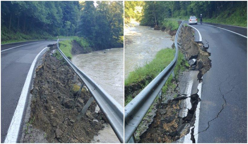 Alunecare de teren pe drumul ce leagă Brașovul de Ploiești. Circulația pe DN1A, afectată
