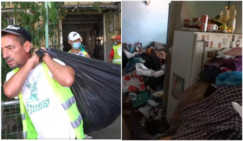 """O bătrână a strâns 38 de metri cubi de gunoaie în apartamentul ei din Sectorul 5. Primarul Piedone: """"Nu criticați! Nimeni nu știe unde-l duce viața"""""""
