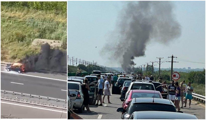 Blocaj pe Autostrada Soarelui, după ce o mașină a ars ca o torță, pe sensul spre București