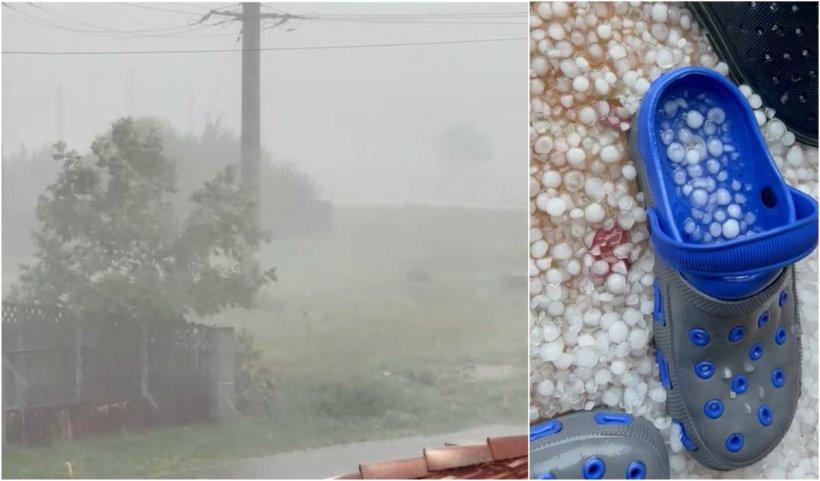 Furtună puternică cu grindină, la Timişoara. Curţile oamenilor, acoperite de o pătură de gheaţă