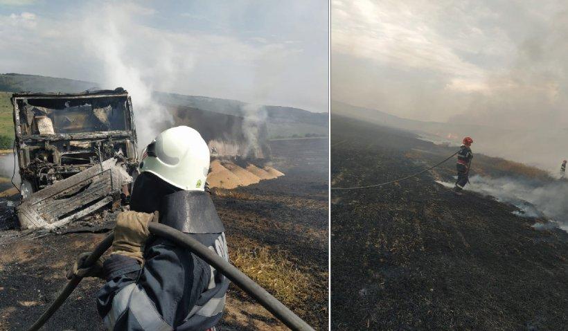 Incendiu devastator la Bunești. Peste 35 de hectare de grâu și miriște au fost mistuite de foc