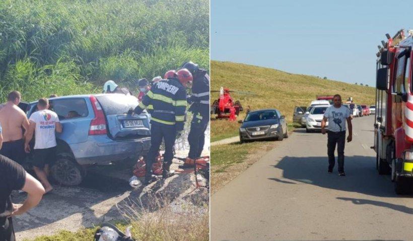 Mașină căzută în baraj, în urma unui accident într-o localitate din Iași: 3 victime, dintre care una este în comă