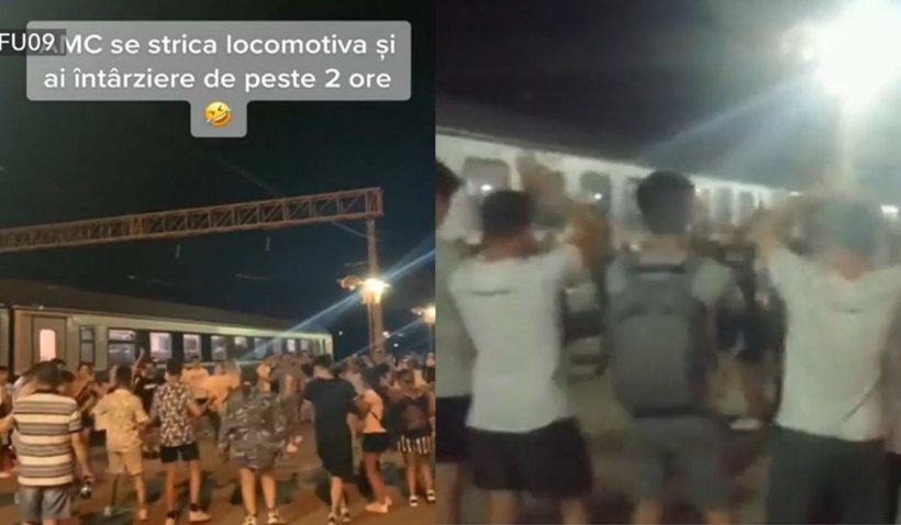Petrecere pe peronul gării din Constanța, după ce s-au stricat locomotivele. Oamenii au scos boxele și au dansat pe manele