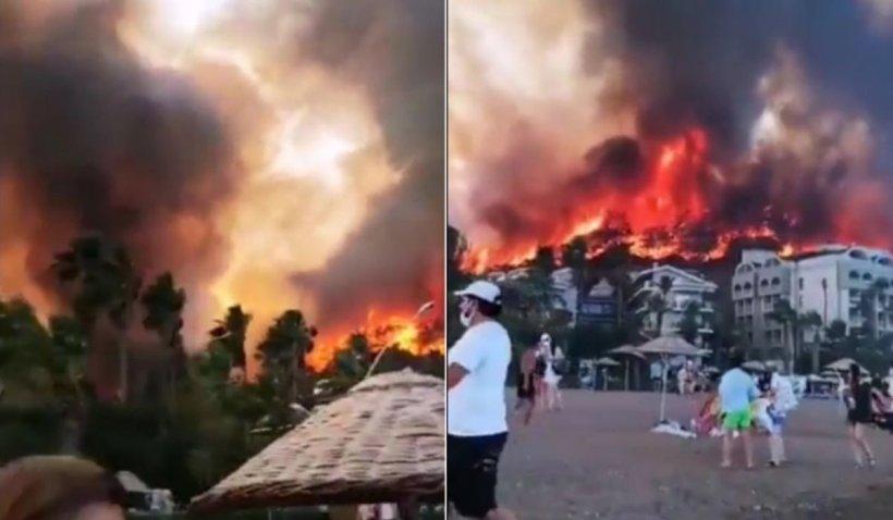 Turiștii sunt scoși din calea incendiilor dezastruoase din Turcia. Opt oameni au decedat, iar alţi 27 sunt în spital