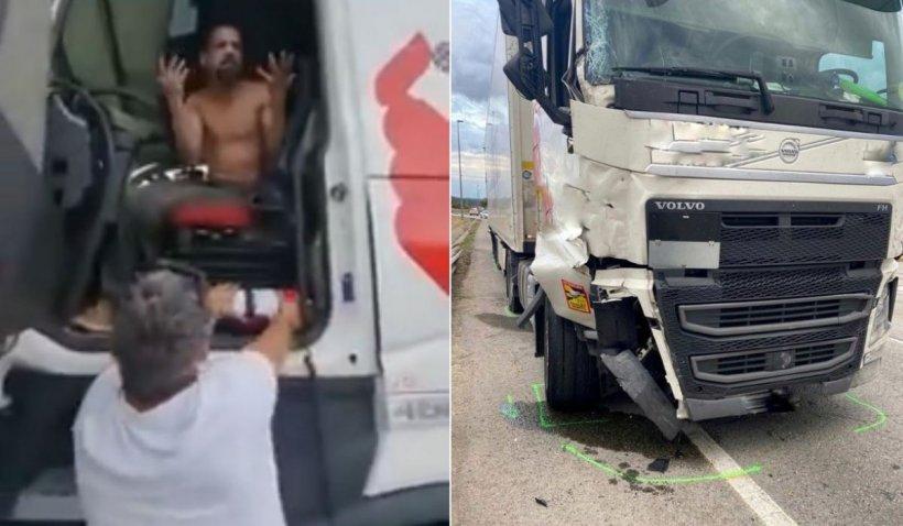 Un şofer român de TIR i-a luat cheile, din mers, unui alt şofer care călcase intenţionat un pieton şi a fugit, în Spania
