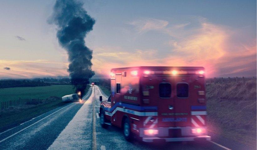 Un microbuz românesc s-a răsturnat în mijlocul unei autostrăzi din Ungaria după ce s-a ciocnit cu o autoutilitară
