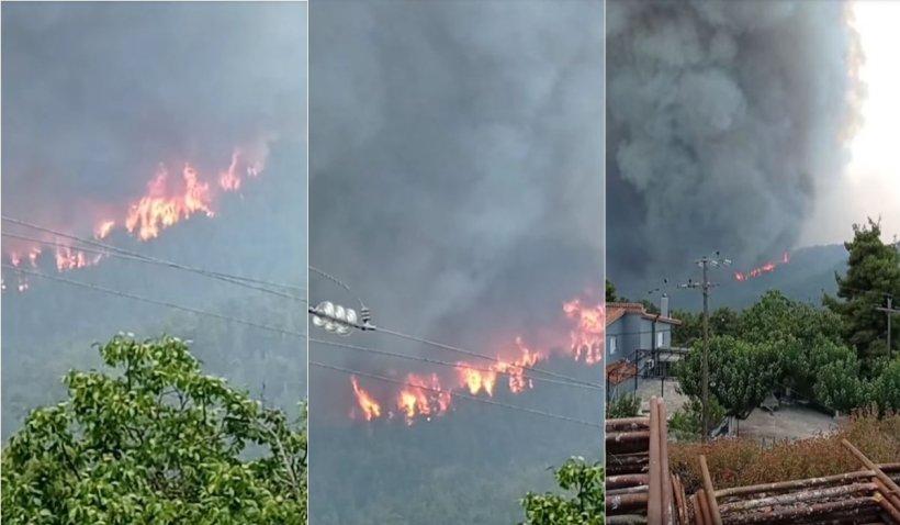 Mănăstirea Sf. David din Drymonas, Grecia, a fost înconjurată de flăcări. Călugării refuză să o părăsească