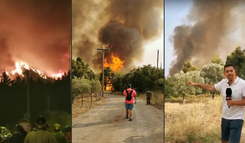 Imagini cu Grecia sub teroarea incendiilor. Flăcările ameninţă Atena