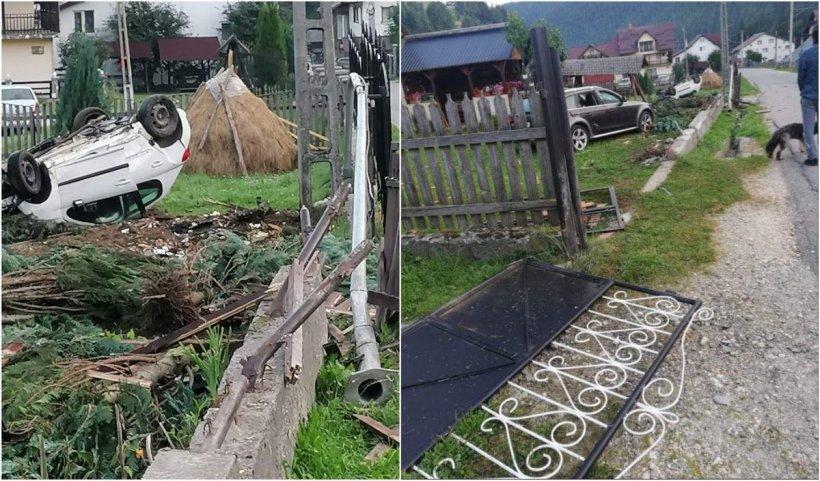 Un minor băut a dărâmat gardul unei case în miez de noapte şi a ajuns cu maşina, cu roţile în sus, în curtea unei familii