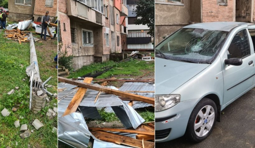 Vijeliile au făcut ravagii în Hunedoara: Acoperișuri și balcoane distruse, stâlpi căzuți și mașini avariate