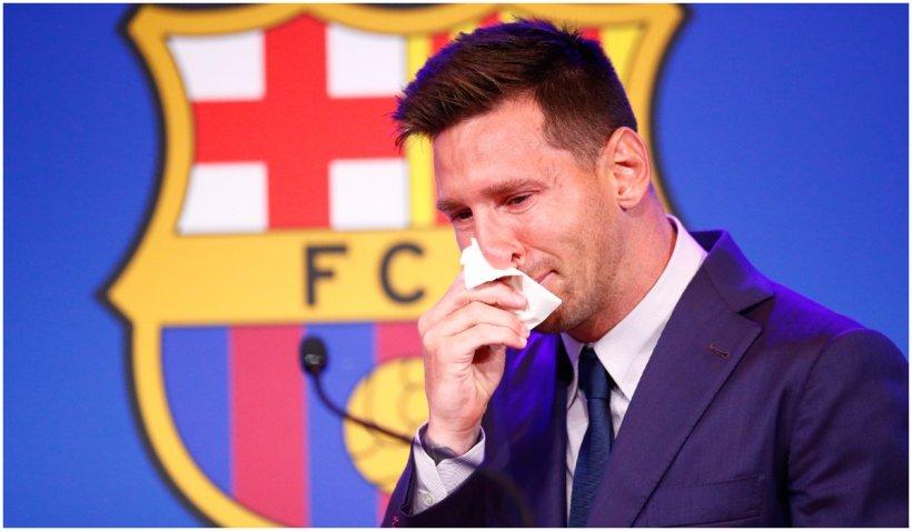 """Leo Messi a izbucnit în lacrimi la conferința de presă de adio de la Barcelona: """"Nu sunt pregătit pentru asta"""""""
