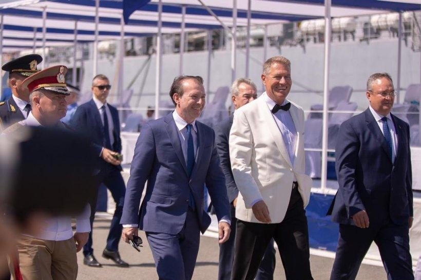Klaus Iohannis și Florin Cîțu, la ceremonia de Ziua Marinei din portul militar Constanța