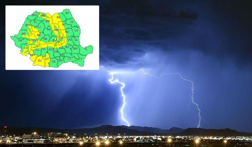 Alertă meteo de vreme severă imediată de la ANM. Ploi torenţiale şi vijelii ce pot depăşi 100 de km/h