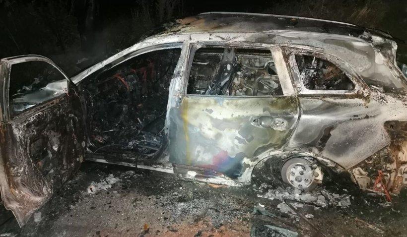 O maşină care a încercat să evite un mistreţ a fost proiectată de un Land Rover într-un pom şi a ars complet