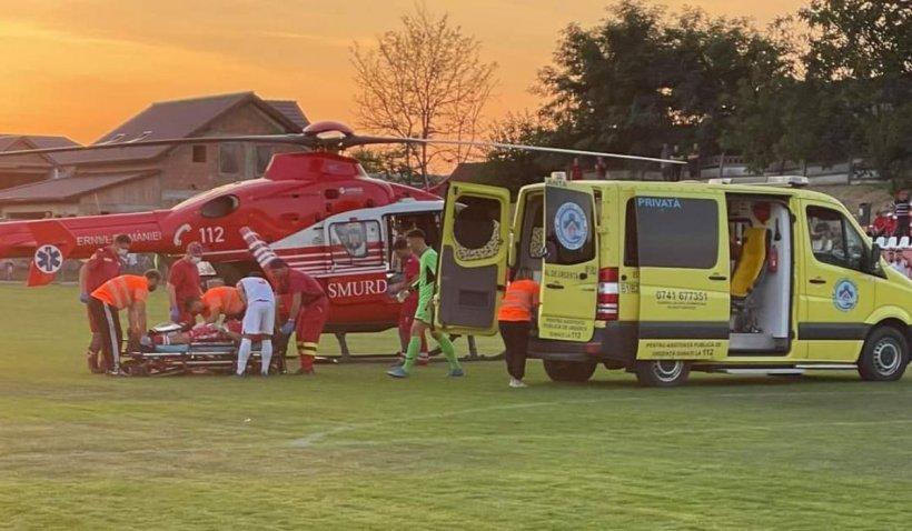 Incident grav la un meci de fotbal. Portarul echipei Liești a suferit o comoție cerebrală, după ce a fost lovit de un adversar