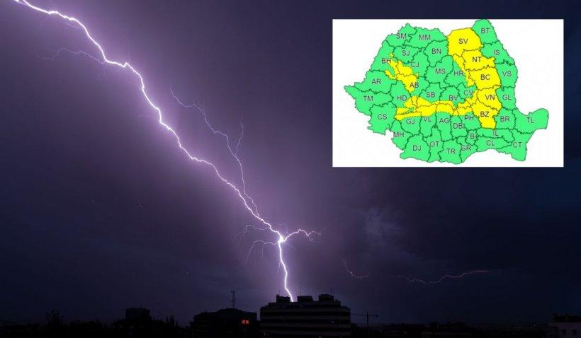Avertizare meteo ANM de vreme severă imediată. Ploi torenţiale de până la 40 de litri pe metru pătrat
