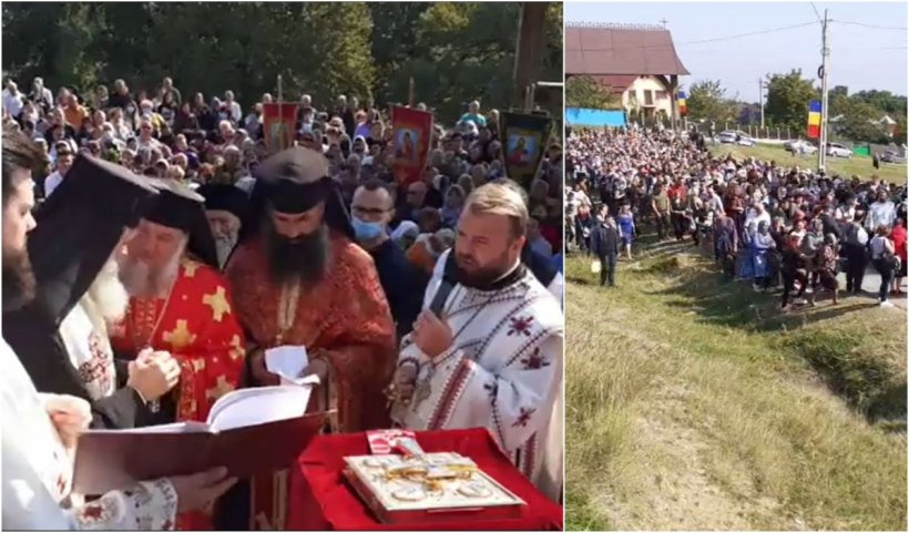 Mii de oameni fără măşti s-au înghesuit la Mănăstirea Hadâmbu, în zi de sărbătoare