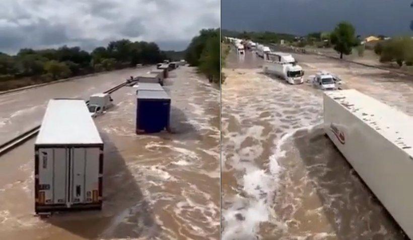 Inundații masive în Franța, cu cel puțin doi dispăruți și camioane blocate de viituri pe autostradă