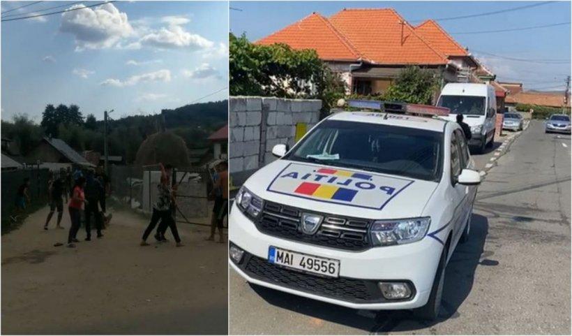 Bătaie cu lopeţile între două familii din Argeş, în mijlocul străzii. Doi bărbaţi au fost reţinuţi şi 10 persoane duse la audieri