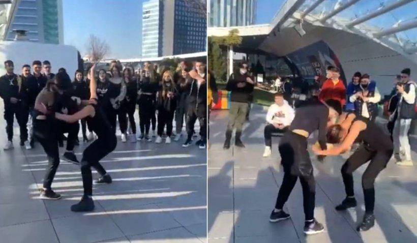Două fete s-au bătut pe terasa unui mall din Bucureşti, încurajate şi aplaudate de zeci de prieteni şi colegi