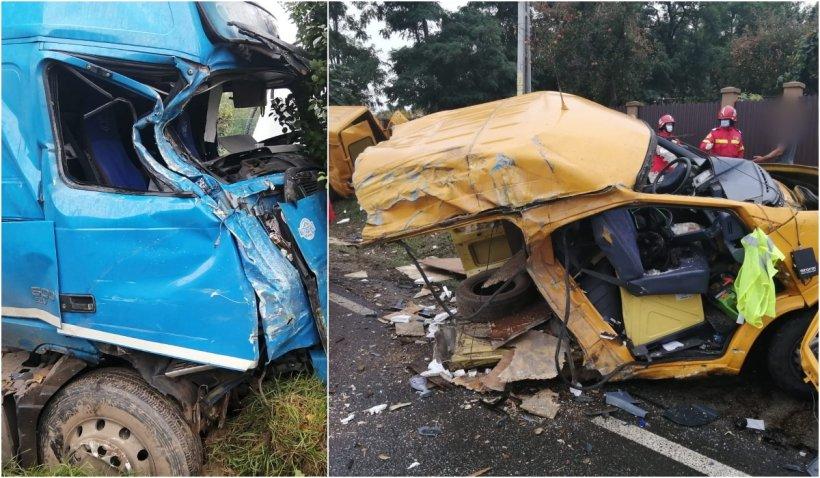 Accident grav în Suceava. O dubă s-a rupt în două după impactul cu un TIR