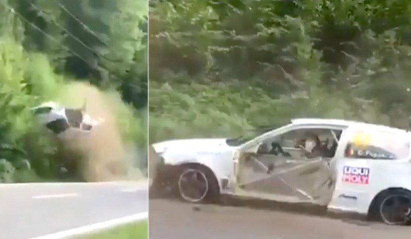 Accident grav la raliul din Câmpulung. O mașină s-a rostogolit de mai multe ori în aer