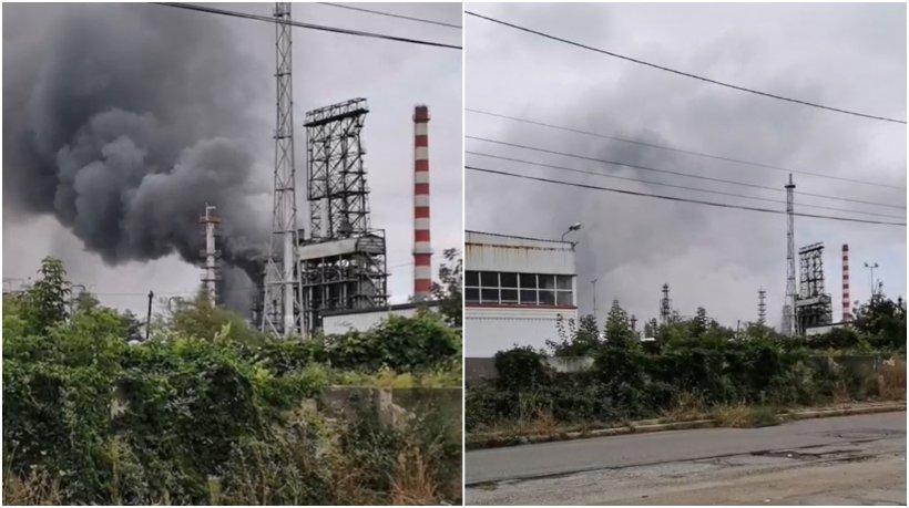 Incendiu puternic la rafinăria Lukoil din Ploiești
