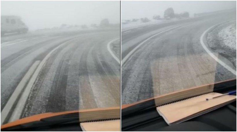 Prima zăpadă în România! Autoritățile intervin cu material antiderapant