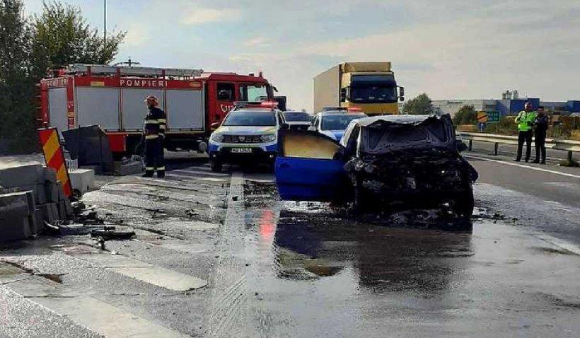 Accident grav între un autocar cu 30 de pasageri şi un autoturism pe Autostrada Pitești - București