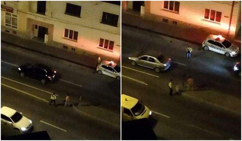 Poliţistă, ameninţată cu moartea de un bărbat gol şi băut suprins în timp ce distrugea semnele de circulaţie, în Zalău