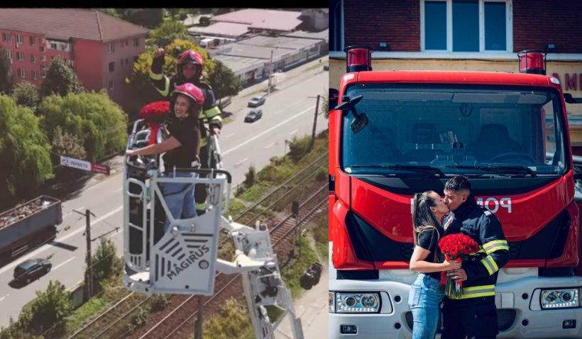 Un pompier din Petroșani şi-a cerut iubita de soţie într-o nacelă de intervenţie, la 35 de metri înălţime