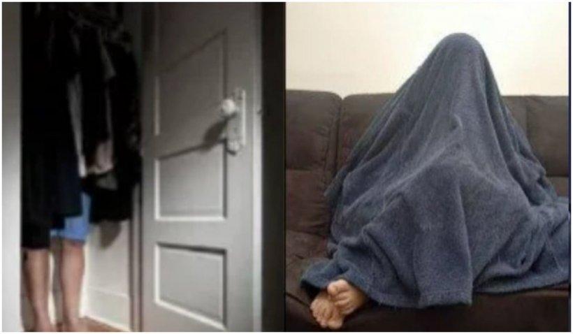 """Ascunzătoarea inedită a unui hoț, când s-a trezit cu Poliția la ușă. """"Picioarele mari"""" l-au dat de gol"""