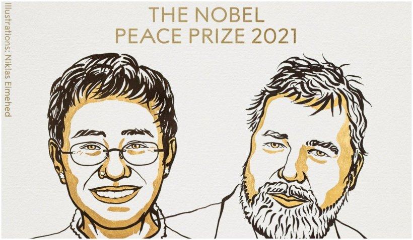"""Maria Ressa și Dmitry Muratov au primit Premiul Nobel pentru Pace, pentru  """"lupta lor curajoasă pentru apărarea libertății de exprimare în Filipine și Rusia"""""""