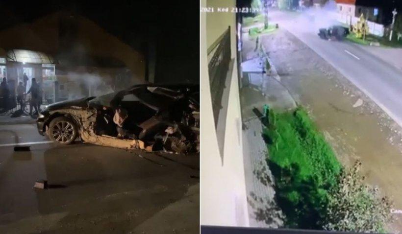 Tânăr fără centură aruncat dintr-un BMW rupt în două, accident filmat în Botiz, Satu Mare