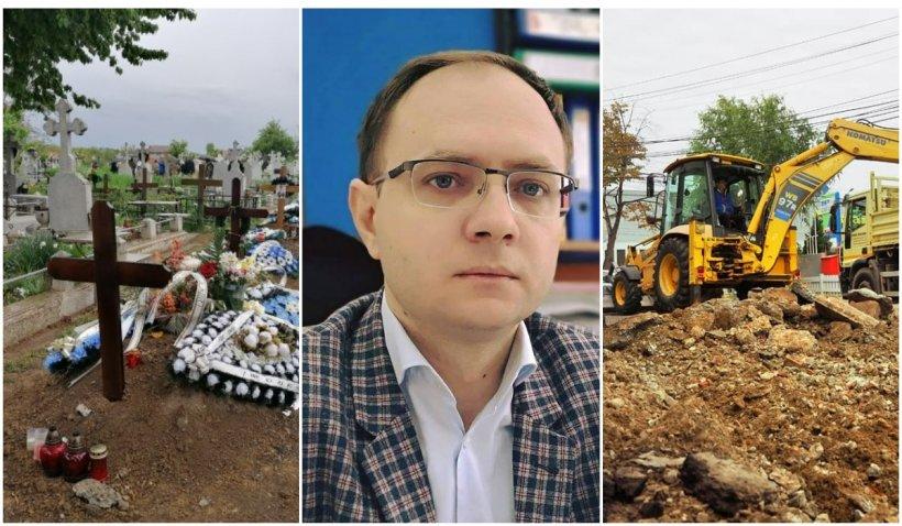 """Primăria Botoşani a închiriat un excavator pentru gropile morţilor de COVID. """"Suntem într-o situaţie anormală"""""""
