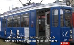 Moldavians ride on Romania's first library tram
