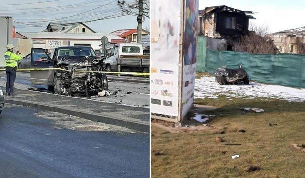 Logan rupt în două, accident pe DN 1 în zona Corbeanca