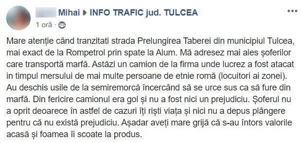 Camion atacat în mers, într-un cartier din Tulcea: 'Foamea îi scoate la produs'