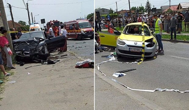 Taxi și BMW, accident mortal în Craiova