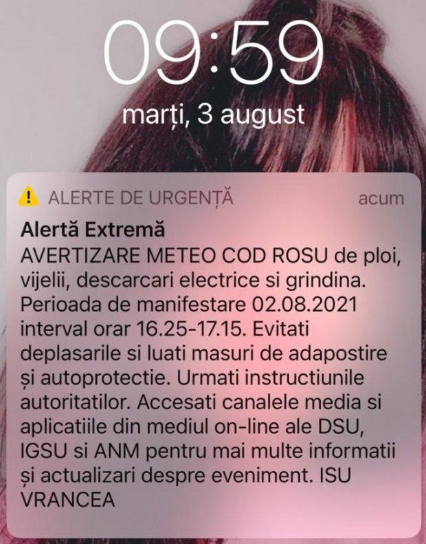 Oamenii din Focşani au primit un mesaj RO-Alert la o zi după o furtună de cod roşu