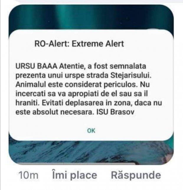 "RO-Alert message of all laughter at ISU Braşov: ""Ursu baaaa"""