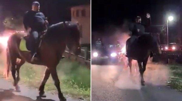 Primarul din Drăguțești s-a plimbat călare pe cal, pe străzile din comună, de bucurie că a câștigat alegerile