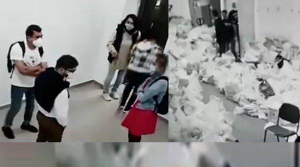 IMAGINILE FRAUDEI LA ALEGERI: Presupuşi membri USR-PLUS umblă la sacii cu voturi, păziţi de jandarmi, în Sectorul 1